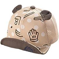 QinTian 帽子 キッズ キャップ ベビー 女の子 男の子 ストライプ かわいい ユニセックス サイズ調整可能 耳付き 日よけ UVカット 紫外線対策 赤ちゃん 子供 コットン アウトドア 男女兼用 (ベージュ)