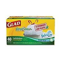Glad Tallキッチンバッグ13Gal。0.90Milホワイト40Bags /ボックス