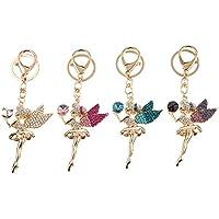 Dovewill  可愛い ラインストーン 天使 妖精 キーリング キーホルダー 装飾 ギフト 全4色 - ゴールデン