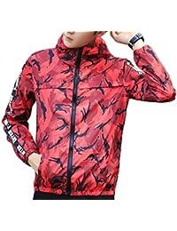 gawaga メンズスポーツウェアの軽量迷彩ジッパーフードジャケット