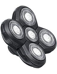 シェーバー5 s高速ユニバーサルフローティング簡単インストールひげ剃り耐久性のあるダブルリングカッター交換電気かみそり実用ヘアトリマーブレード(黒)