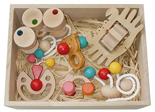 ●赤ちゃんのおもちゃ箱セット(Bタイプ)木のおもちゃ 3ヶ月 4ヶ月 5ヶ月 6ヶ月 1歳 2歳 ~出産祝いにお薦め♪ 木育