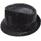 DFギャラリー 帽子 ハット ダンス小物 ステージ衣装 スパンコール 中折れ CB45261 ブラック 頭囲54cm