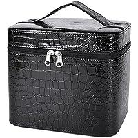 Coofit Adult Beauty Box Crocodile Pattern Leather Makeup Case Large Black