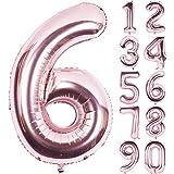 Angel&tribe 番号 0-9 誕生日 パーティー 装飾 ローズ ゴールド ヘリウム 箔 マイラー 大きい 番号 バルーン 101cm/40インチ シャンパン 番号6