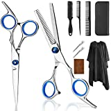 9 PCS Professional Hair Cutting Scissors, Barber Thinning Scissors Hairdressing Shears Stainless Steel Hair Cutting Scissors Kits with Cape Clips Comb for Barber Scissors Shears and Home
