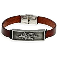 [EasternStar] メンズ&レディース ブレスレット Men's&Ladies Bracelet 牛革 メープルリーフ レトロ