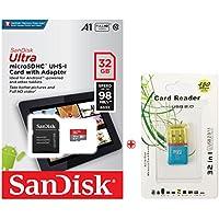 Sandisk microSDHC 32GB Sun Disc サンディスク UHS-1 超高速U1 FULL HD アプリ最適化 Rated A1対応 専用SDアダプ付 パッケージ品/Nintendo Switch 動作確認済 およびUSB 2.0マイクロSDリーダー, ポーチプレゼン(SDSQUAR-032G)