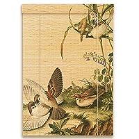 CHAXIA 竹ロールスクリーン竹はウィンドウシェードを竹すだれ竹製カーテン 印刷 カーテン 廊下 ヒョンオフ 断つ カバーライト 太陽に対して、 3つのスタイル 複数のサイズ カスタマイズ可能 (色 : A, サイズ さいず : 50x180cm)