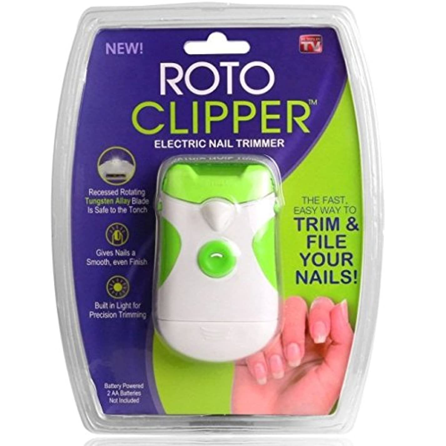 管理教醜いROTO 電動 爪やすり 爪切り 巻き爪 ネイルケア 爪のトラブル 電池式 LEDライト付き 【並行輸入品】
