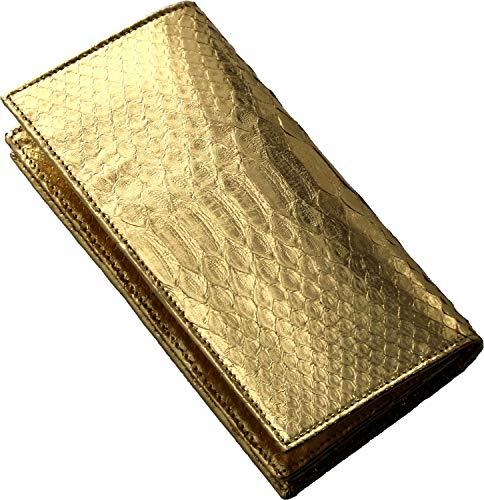 4d8092dd2d80 パイソン 長財布 無双 束入れ 札入れ 蛇革 : ゴールドの画像