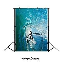 2x3m 夏のビーチの背景 ウェーブ、ターコイズライトブルー海 背景幕 空 撮影用背景布 小さい新鮮な 写真撮影用の背景幕 撮影補助用品 写真スタジオ 装飾用 カスタマイズ可能様々な背景