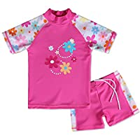 BAOHULU Girls Swimsuit Two Piece Tankini UPF 50+ UV Protective Rash Guard Set 3-12 Years