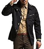 (オビエ)Ovie トレンチコート ブラック L チェスターコート 羽織る 羽織り はおり テーラードジャケット ミリタリーコート クラシカル ストリート ストリート系 大人 大人コーデ スマート モード ビジネス カジュアル メンズ t42 黒 L
