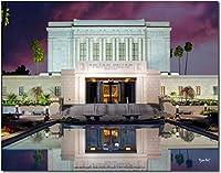 LDS Temple–メサ、アリゾナ州–サンセットカラー印刷 14X11 ブルー