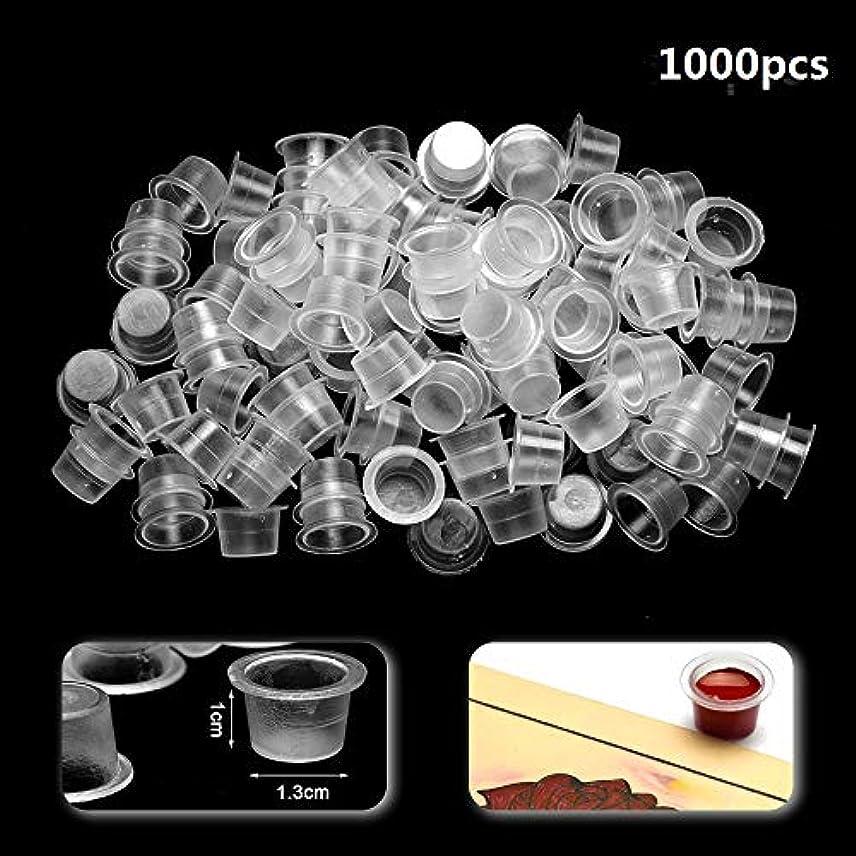 透明に軍習慣ATOMUS インクキャップ、タトゥーインクカップ、使い捨て永久的な眉毛入れ墨ピグメントコンテナ、0.8cm 1.3cm 1.5cm 100個-1000個セット (1.3cm 1000pcs)