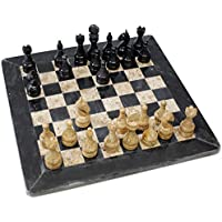 Black Marble and Fossil Chess Set 12