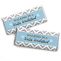 幸福の冬のワンダーランドのビッグドット-キャンディバーラッパースノーフレークホリデーパーティーと冬の結婚式の好意-24のセット