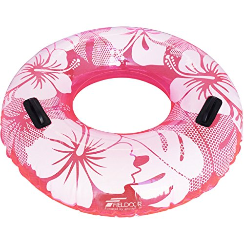 FIELDOOR 便利な持ち手付き ジャンボ 浮き輪 大きい うきわ 直径120cm ピンク (ハイビスカス柄) 大人用 特大