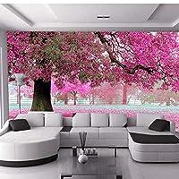 3D壁の壁画壁紙風景桜カスタム壁紙森の風景寝具室ソファテレビ背景-360X250CM