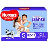 Huggies Ultra Dry Nappy Pants, Boy, Size 5 (12-17kg), 104 Count, Packaging May Vary, 104 count, Pack of 2