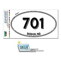 701 - ダッジ, ND - ノースダコタ - 楕円形市外局番ステッカー