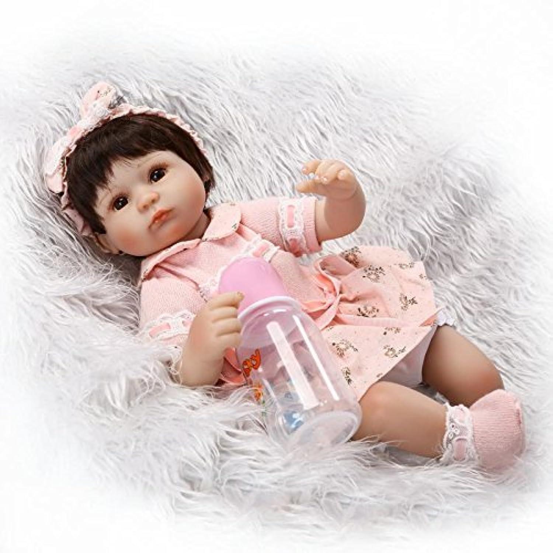 scdoll Rebornベビー人形、16インチ40 cm Lifelike Vinylシリコン新生児幼児人形ブラウンEyes Play Houseおもちゃwithピンクヘッドバンドクリエイティブギフト