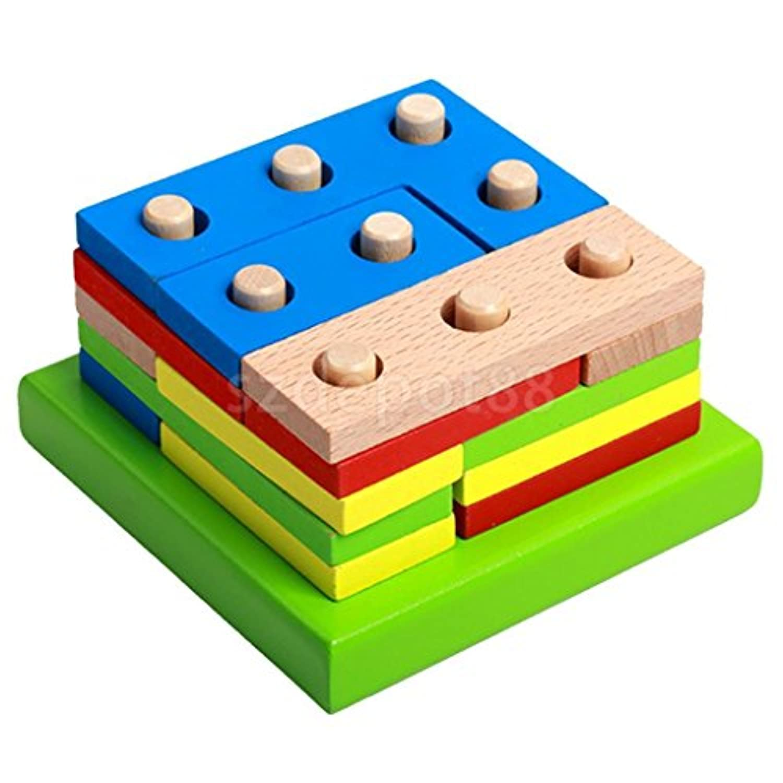 ジオメトリパズルおもちゃ教育建物Stacking Blocks木製シェイプギフト