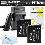 2パックバッテリーと充電器キットfor Nikon Coolpix s9900、a900、w300、s9300s6300、s9200、aw120, aw130, s9700, keymission 360..