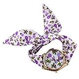 PolytreeレディースGirl 's花柄布バンドフラワードレスクォーツ腕時計(タイプ7)