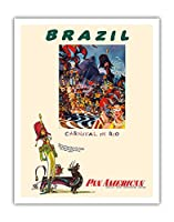 ブラジル - リオのカーニバル - パンアメリカン航空 - ビンテージな航空会社のポスター によって作成された ウィリアム・リンジー・プレスコット c.1960 - アートポスター - 28cm x 36cm