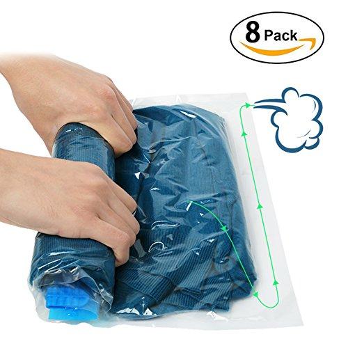 Vanble 圧縮袋 衣類圧縮袋 手巻き 掃除機不要 収納/旅行/引越し/出張/家庭用 8枚組 L M Sサイズ