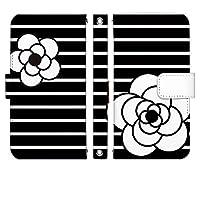 AQUOS SERIE mini SHV33 手帳型 ケース [デザイン:2.ブラック/マグネットハンドあり] カメリアボーダー アクオス スマホ カバー