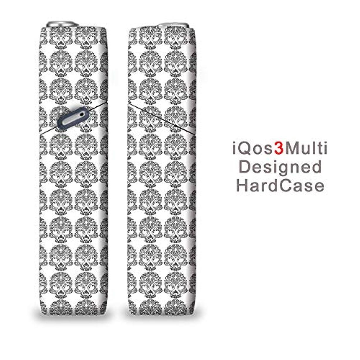 哲学的蜜モーテル完全国内受注生産 iQOS3マルチ用 アイコス3マルチ用 熱転写全面印刷ダマスク風 スカル 加熱式タバコ 電子タバコ 禁煙サポート アクセサリー プラスティックケース ハードケース 日本製