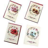 パック4 [ありがとう]感謝祭の日グリーティングカードとペーパーフラワー