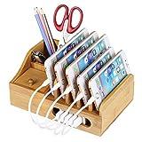 MixMart 充電スタンド 竹製 卓上ホルダー 充電ステーション 携帯収納ボックス チャージャーステーション 多機能の筆立て 竹製スタンド スマートフォンスタンド 収納充電ホルダー