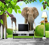 Mingld カスタム写真壁紙3D漫画子供部屋動物公園背景壁画リビングルームの装飾壁紙-250X175Cm