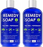 Remedy Soap Pack of 2, Helps Wash Away Body Odor, Soothe Athlete's Foot, Ringworm, Jock Itch, Yeast Infections