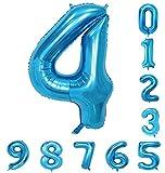青の数誕生日パーティー40インチバルーン(0-9)アラビア数字4の装飾