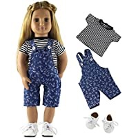 HongShun Fashion Style Doll Clothes Top+Denim suspender Clothing+White Shoes for 18