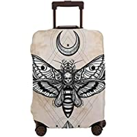Travel Luggage Cover,Dead Head Hawk Moth With Luna And Stone Ancient Magic Skull Suitcase Protector