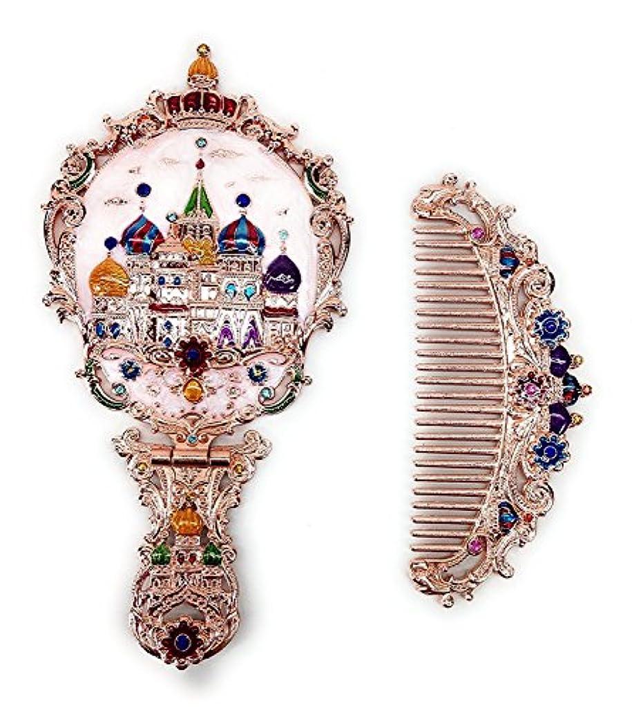中国忠実に平行KINGZUO 手鏡 コーム セット 櫛 くし ミラー ロシア風 アンティーク調 おしゃれ プレゼント