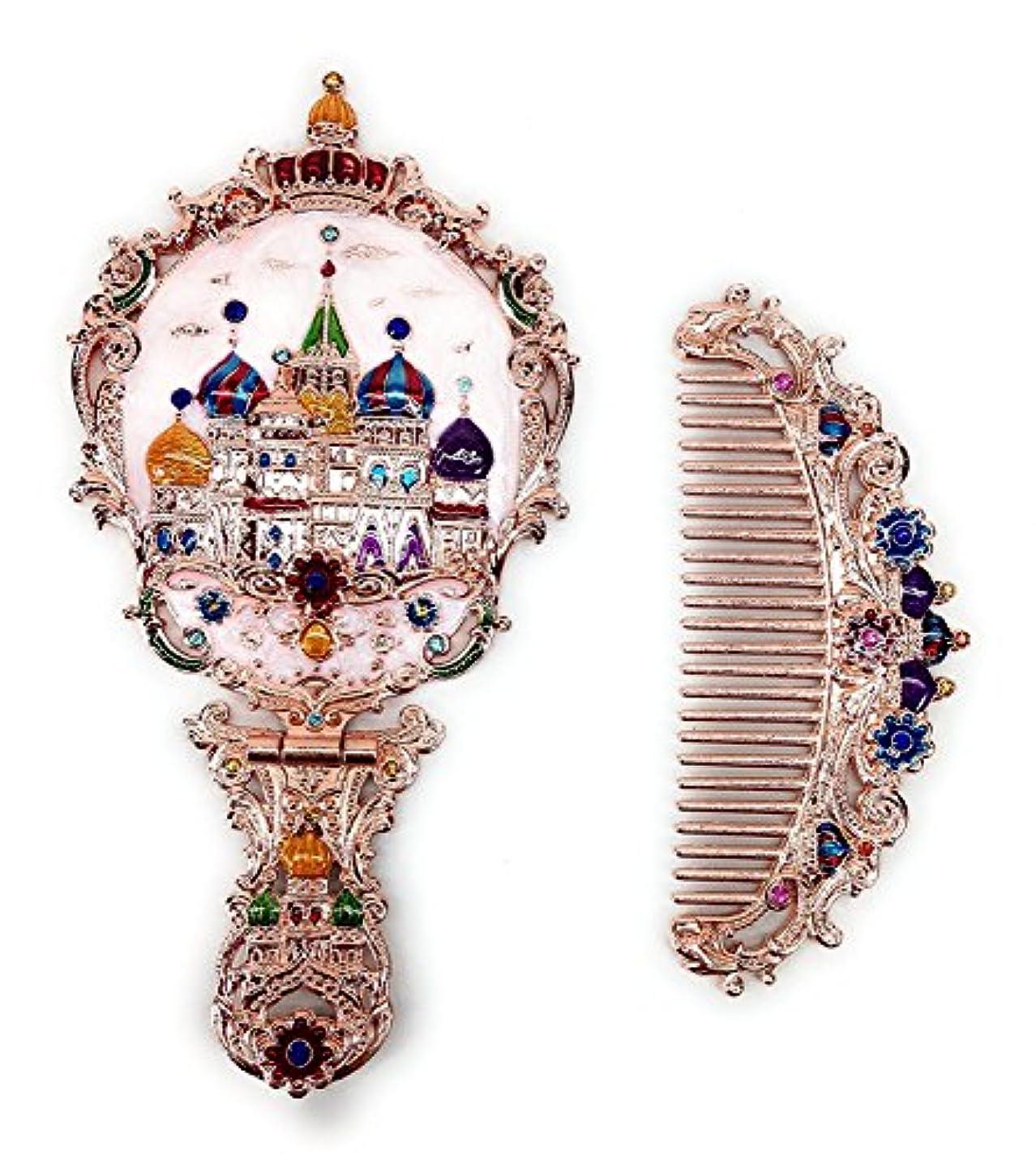 ピアース見つける労働者KINGZUO 手鏡 コーム セット 櫛 くし ミラー ロシア風 アンティーク調 おしゃれ プレゼント