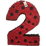 APINATA4U Red & Black Polka Dots Number Two Pinata