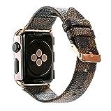 Apple Watch バンド レザー アップルウォッチ ダミエ柄 おしゃれ series 5/4/3/2/1対応(42mm, ブラウン)