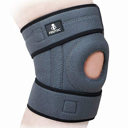 QMU 膝サポーター スポーツ用 膝パッド 膝当て 医療用 ランニング 登山 ボールゲーム対応 痛み 怪我防止 保温 固定 膝蓋骨周り30-42cm 左右兼用 1点セット グレー