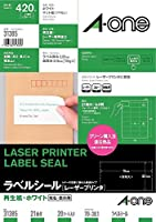 (まとめ買い) エーワン ラベルシール レーザー 再生紙 21面 20枚 31385 【×3】