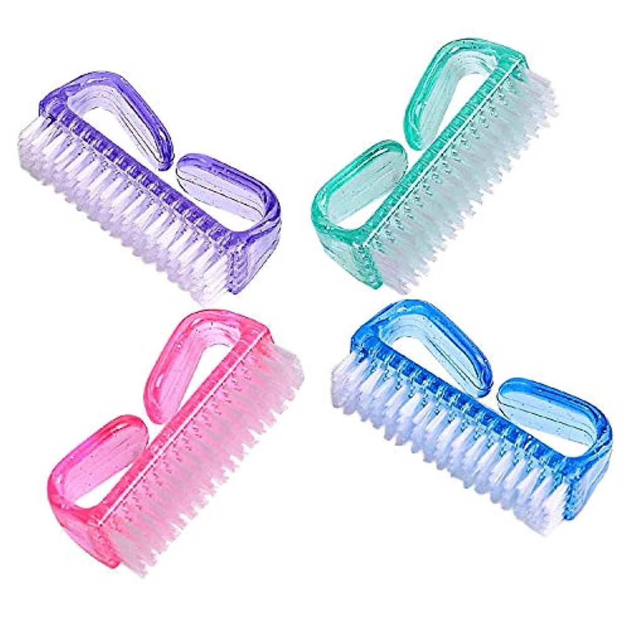 曲線範囲疑問に思う4ネイルブラシつま先のための爪のブラシの爪のブラシの洗剤の手のスクラブのクリーニングブラシを扱います