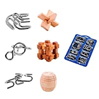 Brain Teasers Puzzle Game, ZUINIUBI Metal Wooden IQ Test Toys for Kids 14pcs