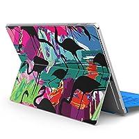 Surface pro6 pro2017 pro4 専用スキンシール サーフェス ノートブック ノートパソコン カバー ケース フィルム ステッカー アクセサリー 保護 フラミンゴ 鳥 カラフル 011161